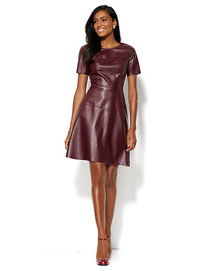 Faux-Leather Flare Dress  - New York & Company
