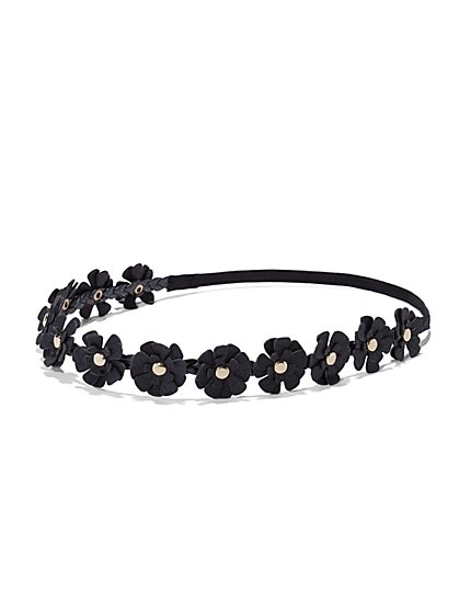 Faux-Leather Floral Headband  - New York & Company