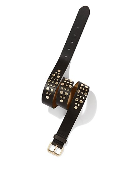 Faux-Leather Gold-Studded Belt - New York & Company