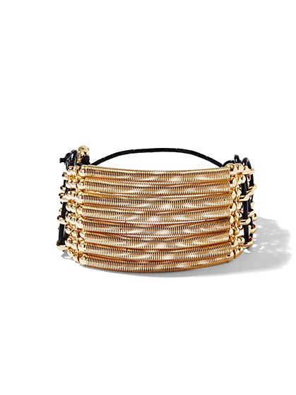 Faux-Leather & Goldtone Bracelet  - New York & Company