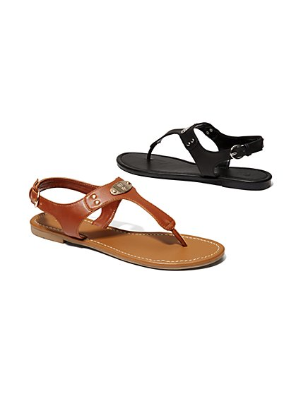 Faux-Leather Hardware Sandal