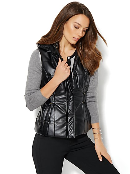 Faux-Leather Hooded Puffer Vest - New York & Company