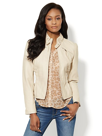 Faux-Leather Jacket - Side Ruching