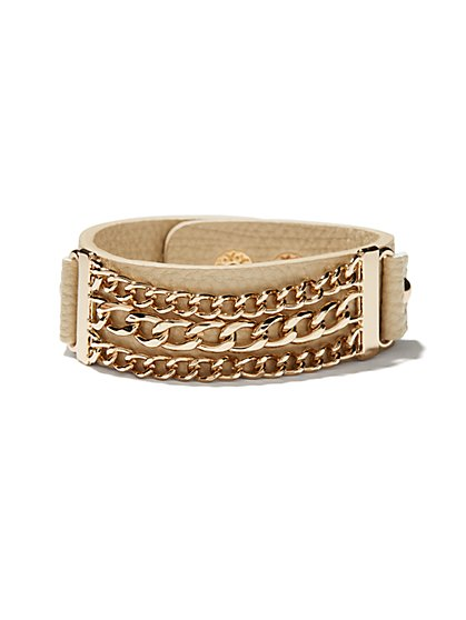 Faux-Leather & Links Bracelet