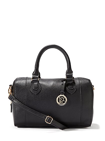Faux-Leather Logo Satchel