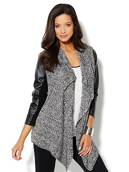 Faux-Leather Marled Flyaway Jacket - New York & Company