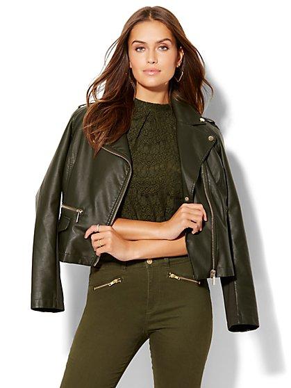Faux-Leather Moto Jacket - Black  - New York & Company