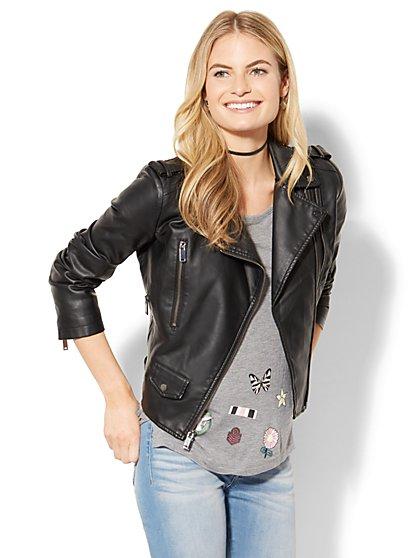 Faux-Leather Moto Jacket - New York & Company