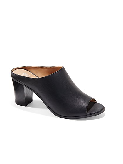 Faux-Leather Open-Toe Mule  - New York & Company