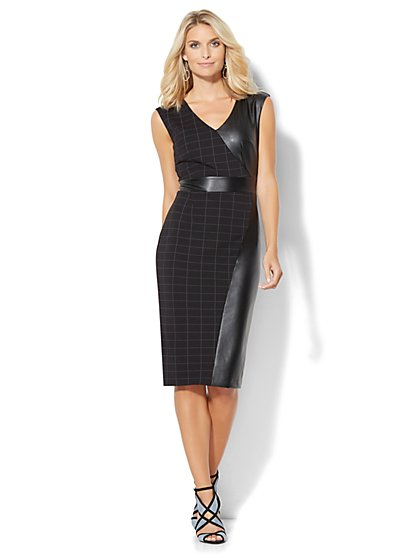 Faux Leather-Panel Plaid Sheath Dress - New York & Company