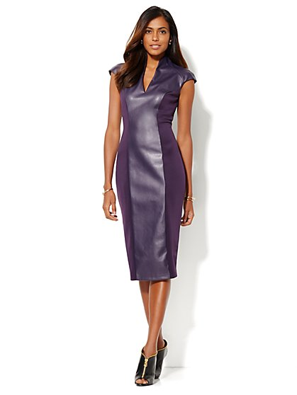 Faux-Leather Panel Scuba Dress - New York & Company