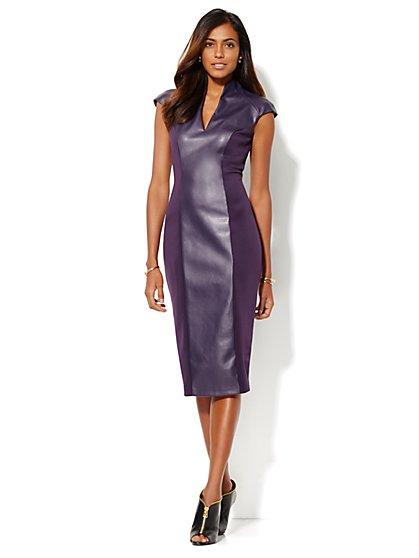 Faux-Leather Panel Scuba Dress - New York & Company