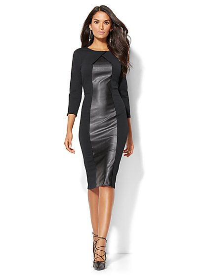 Faux-Leather Panel Sheath Dress - Tall  - New York & Company
