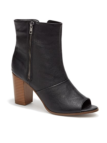 Faux-Leather Peeptoe Bootie - New York & Company