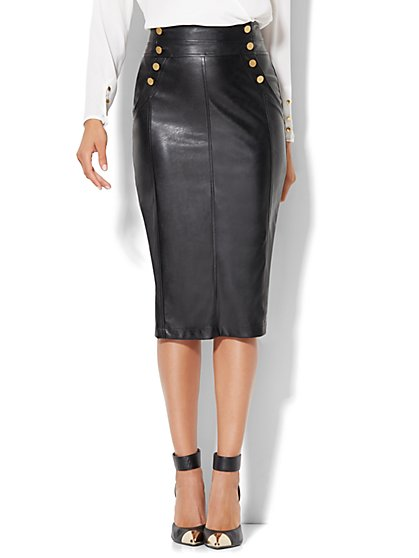 Faux-Leather Pencil Skirt  - New York & Company