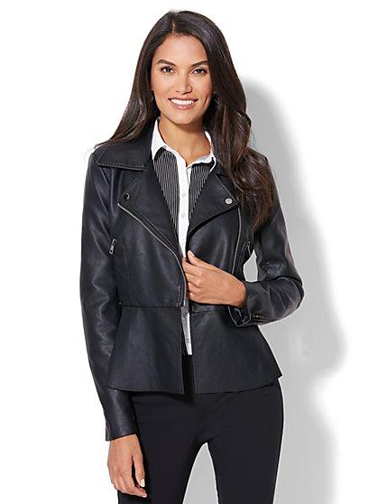 Faux-Leather Peplum Moto Jacket - New York & Company