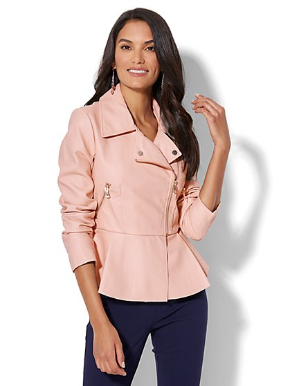 Faux-Leather Peplum Moto Jacket - New York & Company
