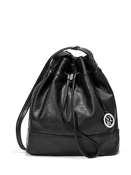 Faux-Leather Perforated Drawstring Bag  - New York & Company