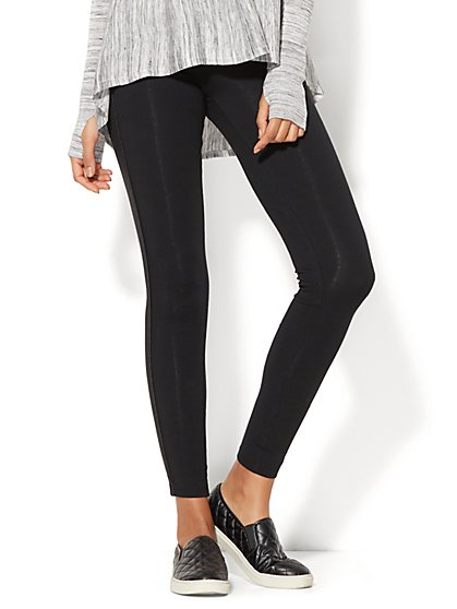 Faux-Leather Piped Legging - New York & Company