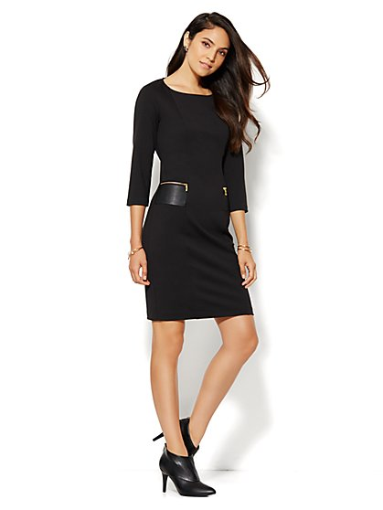 Faux Leather-Pocket Ponte Dress  - New York & Company