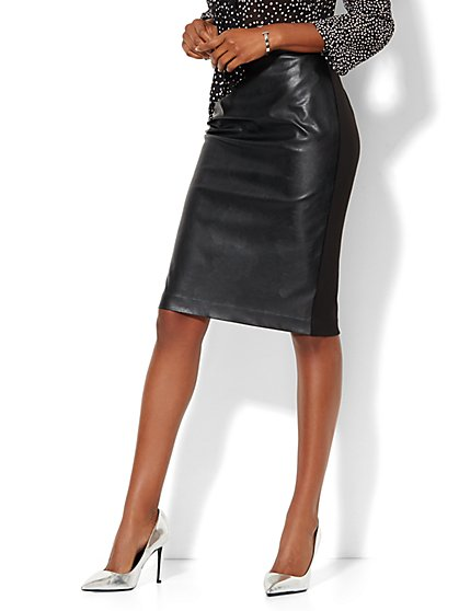 Faux-Leather & Ponte Pencil Skirt - Black  - New York & Company