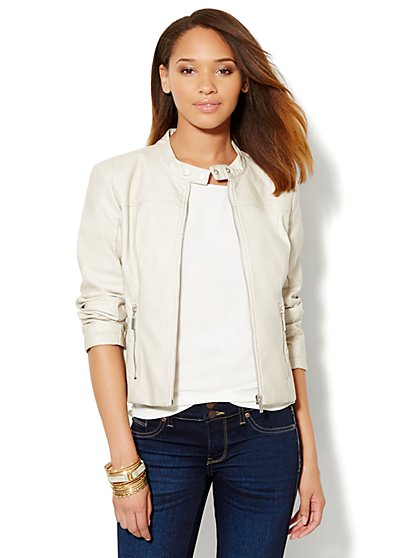 Faux-Leather Quilted Jacket - New York & Company