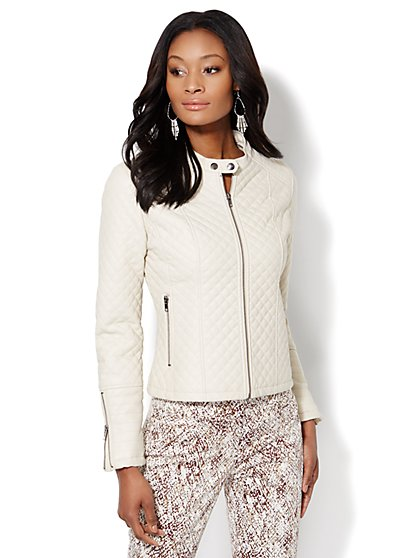 Faux-Leather Quilted Moto Jacket  - New York & Company
