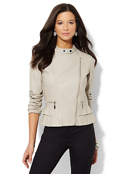 Faux-Leather Ruffle-Trim Moto Jacket  - New York & Company
