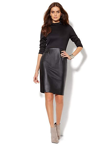 Faux-Leather & Scuba Sheath Dress  - New York & Company