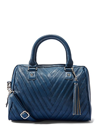 Faux-Leather Seamed Satchel