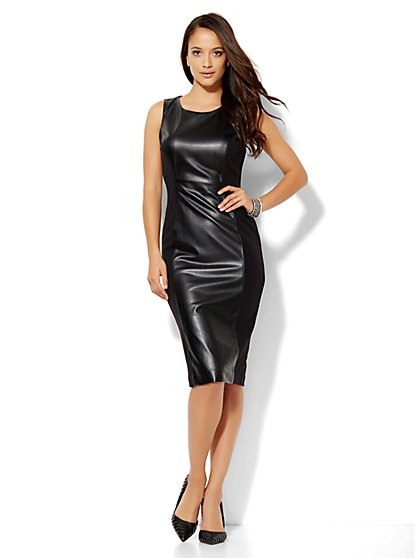 Faux-Leather Sheath Dress - New York & Company