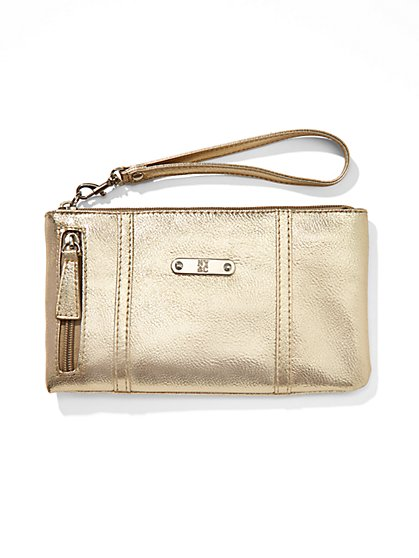 Faux-Leather Side-Zip Wristlet  - New York & Company