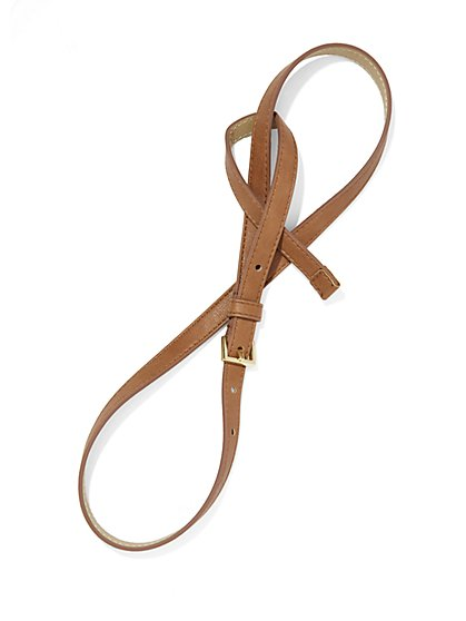 Faux-Leather Skinny Loop Belt  - New York & Company