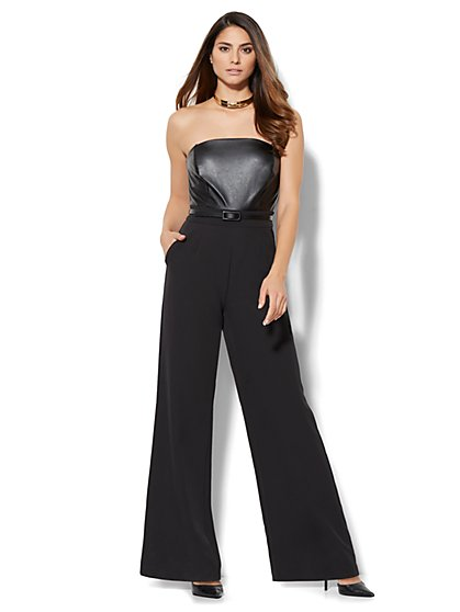 Faux-Leather Strapless Jumpsuit  - New York & Company