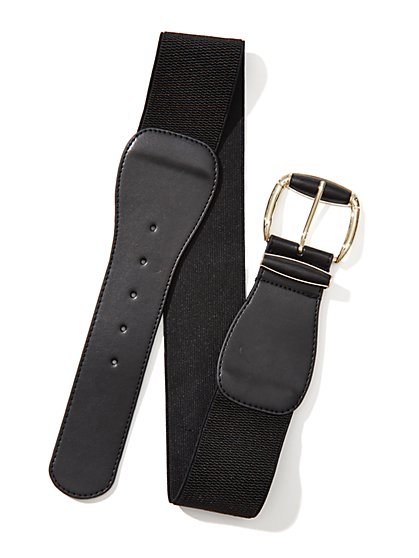 Faux-Leather Stretch Belt