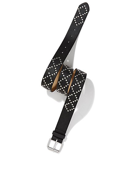 Faux-Leather Studded Belt - New York & Company