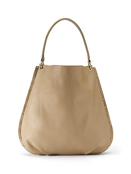 Faux-Leather Studded Hobo Bag
