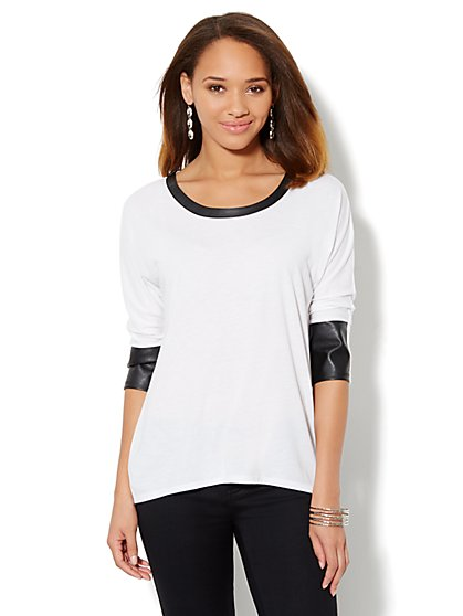 Faux-Leather Trim 3/4-Sleeve Tee - New York & Company