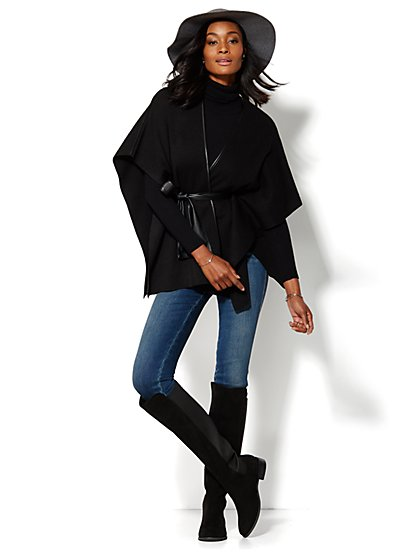 Faux-Leather Trim Belted Poncho - New York & Company