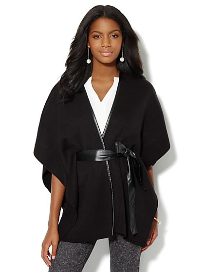 Faux-Leather Trim Blanket Wrap - Black - New York & Company