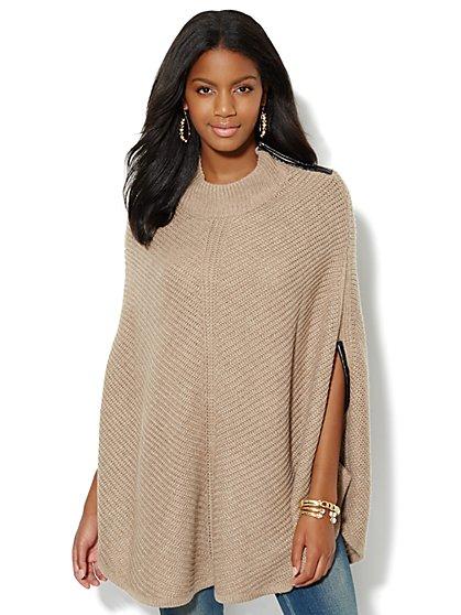 Faux-Leather Trim Blanket Wrap - New York & Company