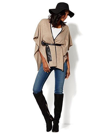 Faux Leather-Trim Blanket Wrap - New York & Company