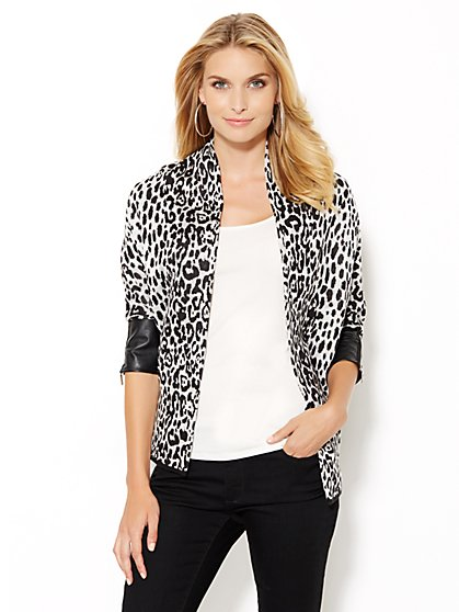 Faux Leather-Trim Cheetah Coatigan  - New York & Company