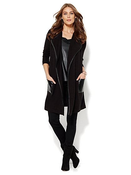 Faux-Leather Trim Flyaway Cardigan  - New York & Company