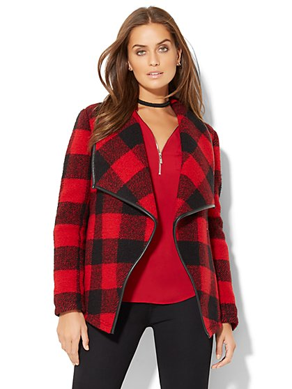 Faux-Leather Trim Flyaway Coat - Buffalo Plaid - New York & Company