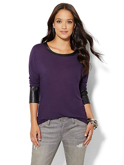 Faux-Leather Trim Hi-Lo Tee  - New York & Company