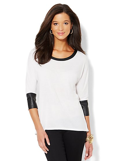 Faux Leather-Trim Hi-Lo Top - New York & Company