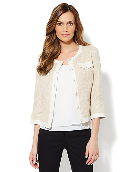 Faux-Leather Trim Jacket