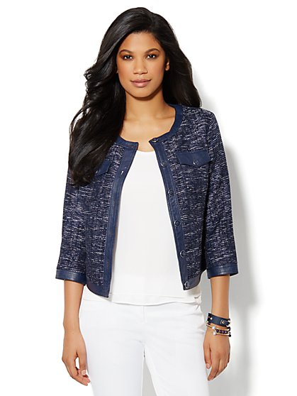Faux-Leather Trim Jacket - New York & Company