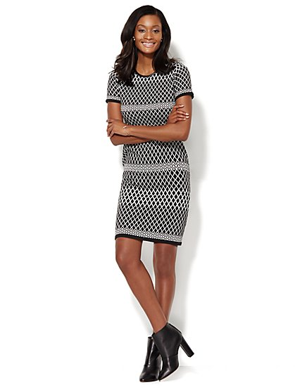 Faux-Leather Trim Jacquard Sweater Dress  - New York & Company